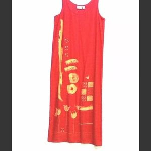 Vtg NWT Chico's LARGE Silk Red Gold Maxi     BP92